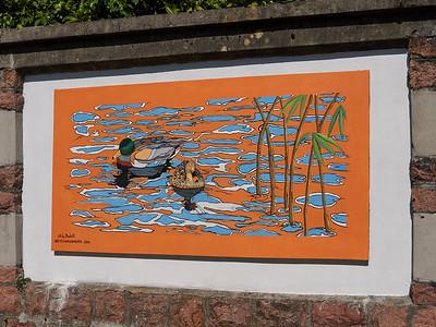 Lago di Lugano - Porto Ceresio - Fresque sur la promenade de la rive du lac