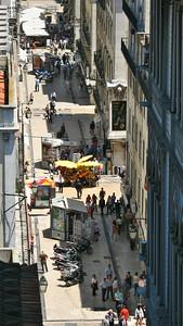Lisbonne - Rua de Santa Justa, depuis la passerelle de l'ascenseur Santa Justa