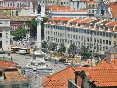 Lisbonne - Praça Dom Pedro IV (Rossio), depuis la passerelle de l'ascenseur Santa Justa