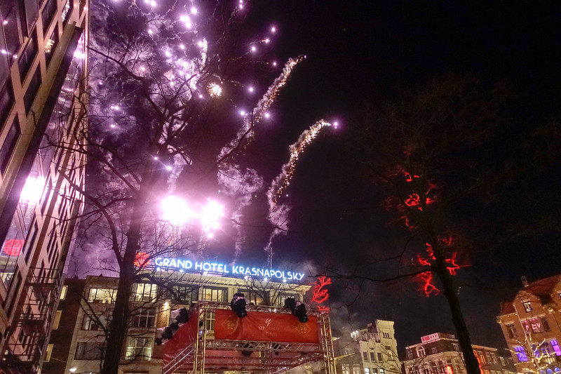 Nederland, Amsterdam, 15 februari 2018, vuurwerk vanwege het begin van het chinese nieuwjaar, foto: Katrien Mulder