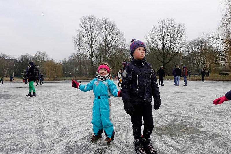Nederland, Amsterdam, schaatsen in het Oosterpark, 3 maart 2018, foto: Katrien Mulder