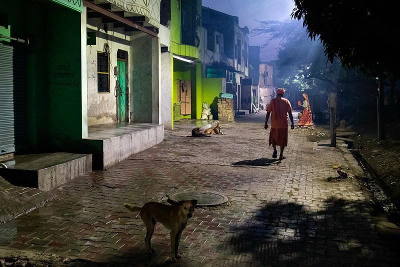 The streets of Vrindavan, before dawn. Chaitanya Vihar.