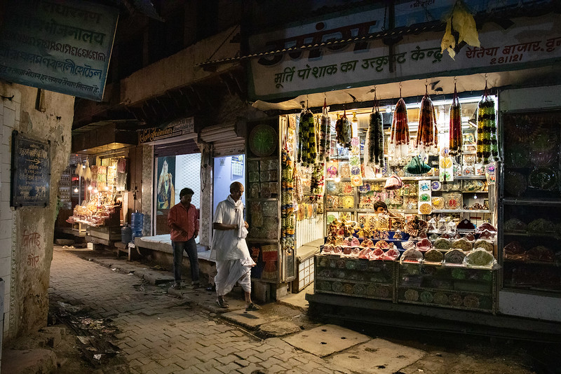 The streets of Vrindavan, night scene. Nidhivan Rd.