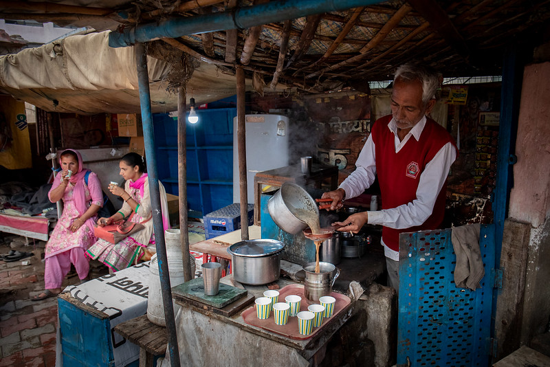 Early morning. Having a chai at a tea stall.