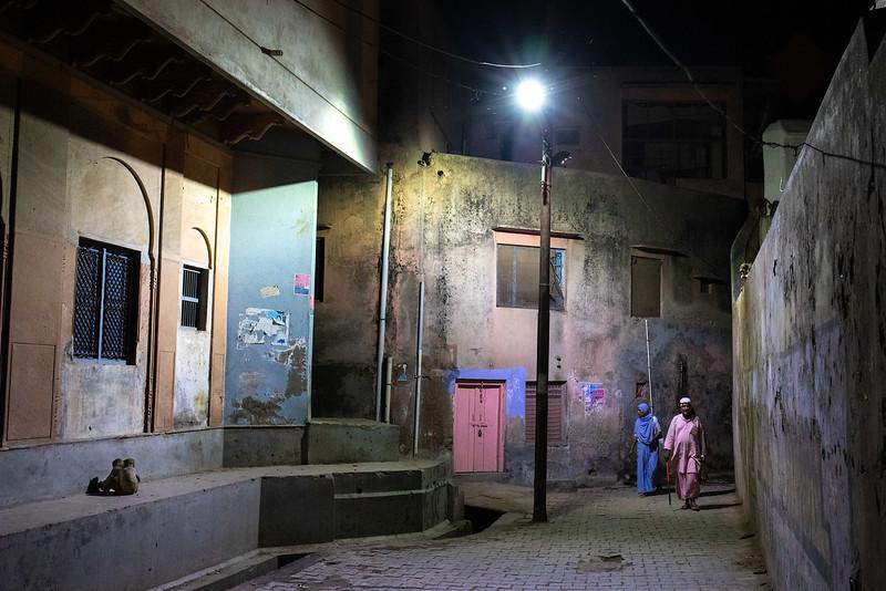 The streets of Vrindavan at night. Near Parikrama Marg.