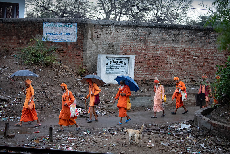 Going to the ashram in the morning. Bt the railway line near Sukhdha Bhakti Ashram.