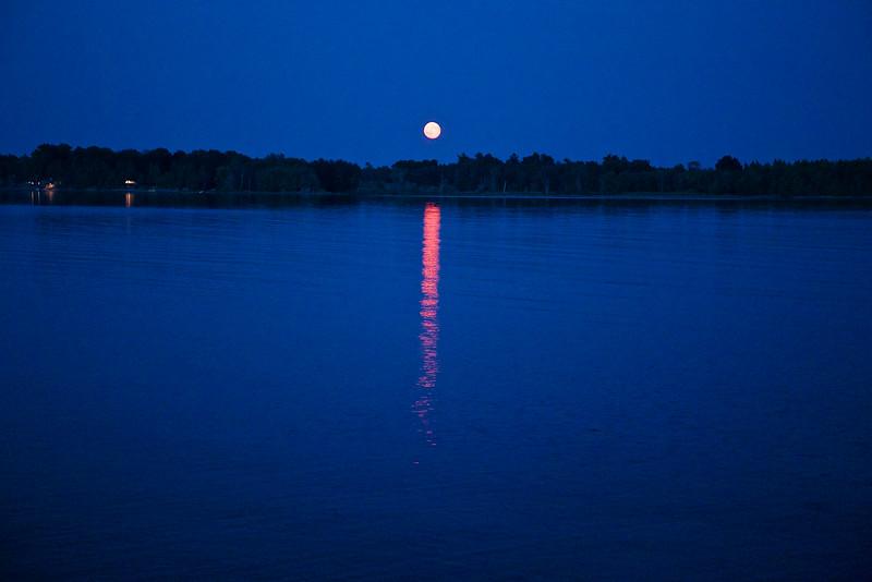 Super Moonrise over Lake Champlain, August 2014