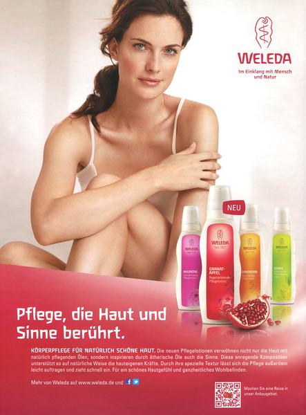 WELEDA body lotions (Wildrose - Granat-Apfel -Sanddorn - Citrus) 2012 Germany 'Pflege, die Haut und Sinne berührt'