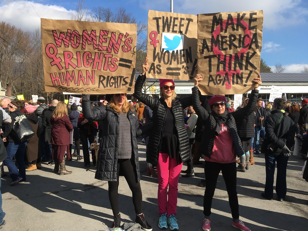 . Women\'s March in Woodstock on Jan. 21, 2017, a day after Donald Trump\'s inauguration as president. Daily Freeman photo by Paul Kirby.