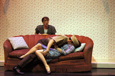 """back to front: Molly Benson, Rudy Guerrero, Delia MacDougall in """"Enough"""" by Alice McDermott"""