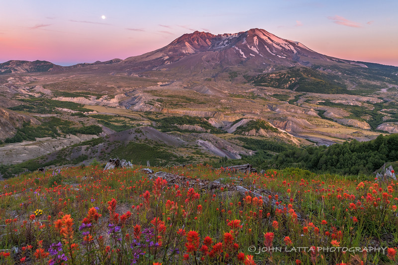 Full Moon Rising Over Mount St. Helens