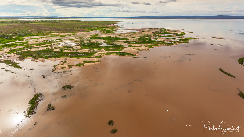 Aerial view of Tidal flats and marshes near Wyndham in Western Australia during the Wet Season.