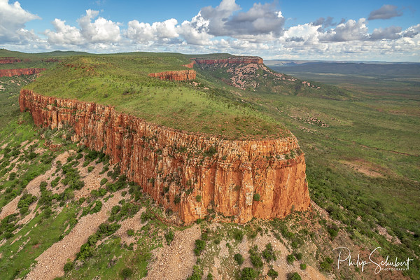 Aerial view of the iconic cliffs and high plateau of the Cockburn Range, El Questro Station, Kimberley, Australia.