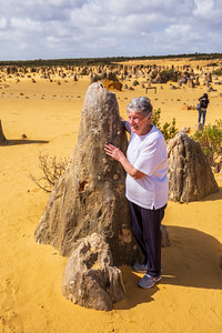 NAMBUNG, WESTERN AUSTRALIA, AUSTRALIA - SEP 9 2019: Australian and International tourist flock to the Pinnacles Desert to admire and photograph the unique monoliths.