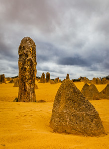 Portrait view of the limestone pinnacles in the Pinnacles National Park, Cervantes, Western Australia