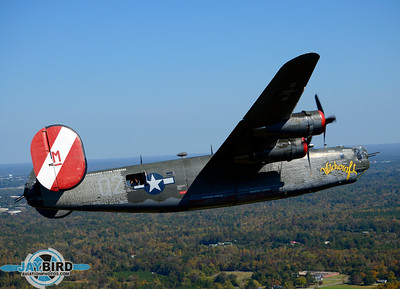THE COLLINGS FOUNDATION B-24J WITCHCRAFT CLIMBS OUT FROM BURLINGTON-ALAMANCE REGIONAL AIRPORT
