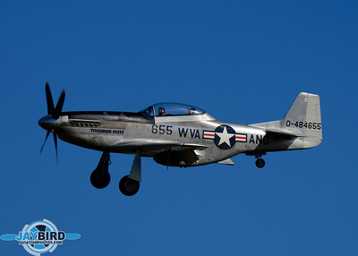 P-51 TOULOUSE NUTS ON SHORT FINAL TO RUNWAY 24 AT BURLINGTON-ALAMANCE REGIONAL AIRPORT