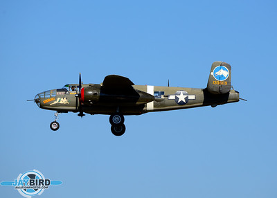 B-25 TONDELAYO OF THE COLLINGS FOUNDATION ON SHORT FINAL TO RUNWAY 24 AT BURLINGTON-ALAMANCE REGIONAL AIRPORT