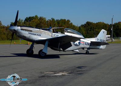 P-51 TOULOUSE NUTS TAXIES ONTO THE RAMP AT BURLINGTON-ALAMANCE REGIONAL AIRPORT
