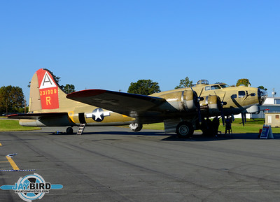 """NINE ON NINE"", THE COLLINGS FOUNDATION B-17G,  SITS ON THE RAMP AT BURLINGTON-ALAMANCE REGIONAL AIRPORT"