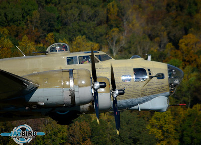 """NINE ON NINE"", THE COLLINGS FOUNDATION B-17G,   CLIMBS OUT FROM BURLINGTON-ALAMANCE REGIONAL AIRPORT"