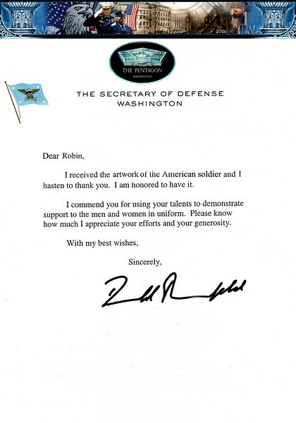 LETTER FROM THE SECRETARY OF DEFENSE