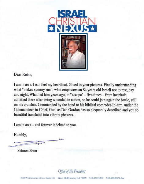 "MIGHTY WARRIOR OF ISRAEL<br /> General Shimon Erem  <br /> President of Israel Christian Nexus<br />  <a href=""http://www.icnexus.org/"">http://www.icnexus.org/</a>"