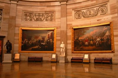 Art decorates the walls of the Capitol Dome