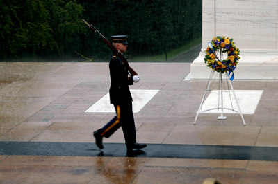 Marching in the rain at the Tomb of the Unknowns