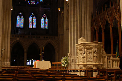 I sat here in the front near this beautiful pulpit for one of the services I attended