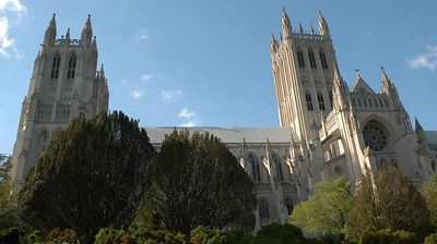 The cathedral is 0.1 mile interior. The tower to the rt is 30 stories high, the left is 20 stories high. It is made of limestone set, stone upon stone. There are no supporting beams in the Cathedral.