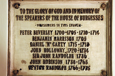 Colonial Burgesses who worshiper here in this church