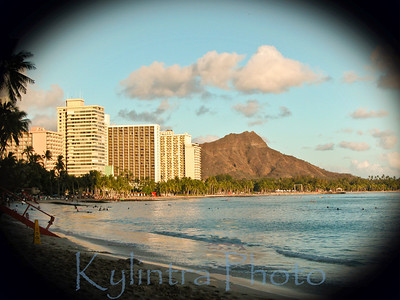 Early sunset on Diamond Head, Hawaii
