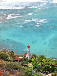 Lighthouse from top of Diamond Head, Oahu, Hawaii