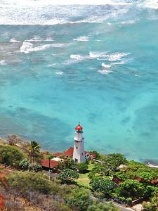 Lighthouse from top of Diamond Head, Oahu, Hawaii