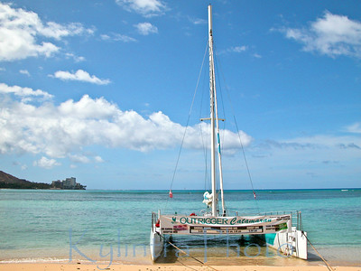 Catamaran waiting for you on Wakiki Beach, Oahu, Hawaii