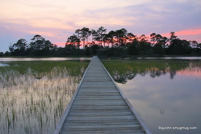 Hunting Island State Park boardwalk sunset.