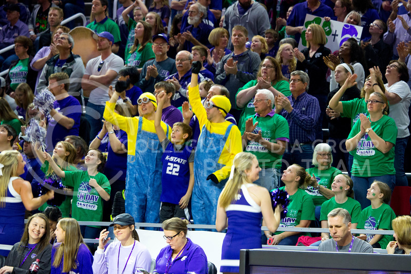K-State's crowd cheer the Wildcats at the beginning of the K-State game against Iowa State in Bramlage Coliseum on Feb. 11 2017 where the Wildcats beat the Cardinals 80-68. (Alanud Alanazi | The Collegian)