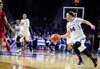 Senior gaurd Kindred Wesemann runs towards the basket during the K-State game against Iowa State in Bramlage Coliseum on Feb. 11 2017 where the Wildcats beat the Cardinals 80-68. (Alanud Alanazi | The Collegian)