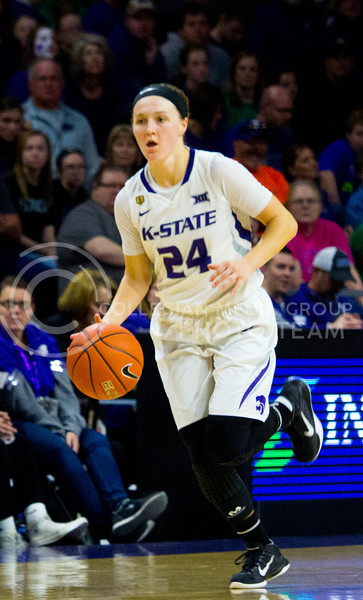 Senior gaurd Kindred Wesemann runs with the ball during the K-State game against Iowa State in Bramlage Coliseum on Feb. 11 2017 where the Wildcats beat the Cardinals 80-68. (Alanud Alanazi   The Collegian)