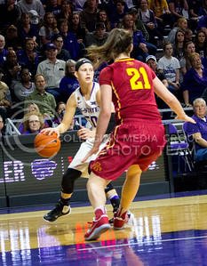 Junior guard Shaelyn Martin runs to pass the ball during the K-State game against Iowa State in Bramlage Coliseum on Feb. 11 2017 where the Wildcats beat the Cardinals 80-68. (Alanud Alanazi | The Collegian)