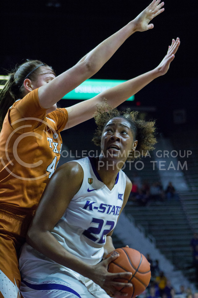 Senior center Breanna Lewis looks to shoot the ball during the K-State game against Texas in Bramlage Coliseum on February 27, 2017. (Maddie Domnick | The Collegian)