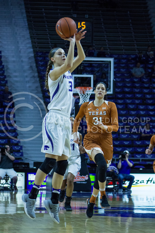 Freshman forward Lanie Page shoots the ball during the K-State game against Texas in Bramlage Coliseum on February 27, 2017. (Maddie Domnick | The Collegian)