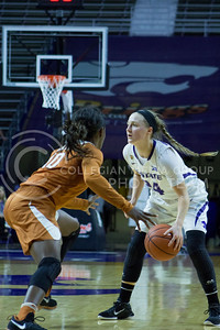 Senior guard Kindred Wesemann dribbles the ball during the K-State game against Texas in Bramlage Coliseum on February 27, 2017. (Maddie Domnick | The Collegian)
