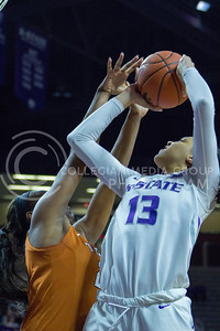 Freshman forward Eternati Willock shoots the ball during the K-State game against Texas in Bramlage Coliseum on February 27, 2017. (Maddie Domnick | The Collegian)