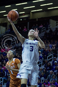 Freshman forward Lanie Page goes for a layup during the K-State game against Texas in Bramlage Coliseum on February 27, 2017. (Maddie Domnick | The Collegian)