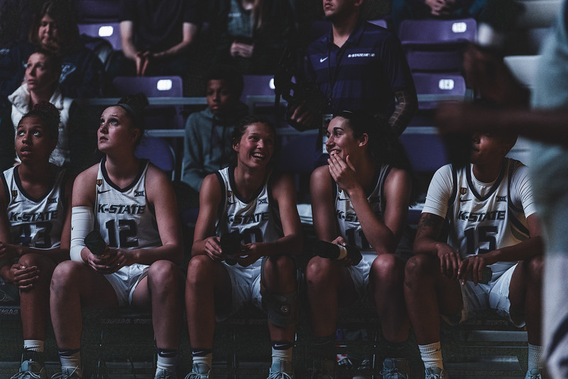 The team laughs together before the starting lineup is announced during the game against Lamar on December 5, 2018. (Alex Todd | Collegian Media Group)