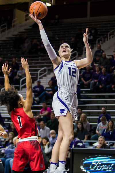 Sophomore guard Rachel Ranke jumps up for a shot during K-State's women's basketball game against Lamar in Bramlage Coliseum on Dec. 5, 2018. The Wildcats beat the Cardinals 73-55. (Logan Wassall | Collegian Media Group)