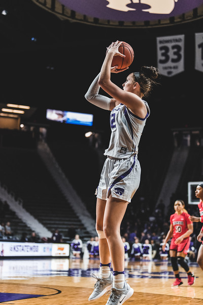 From outside the three point line, K-State sophomore Rachel Ranke scores three points for the Wildcats during the game on December 5, 2018 against Lamar University. K-State won 73-55. (Alex Todd | Collegian Media Group)