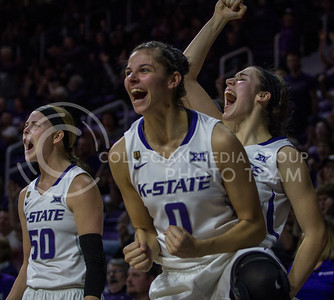 Senior forward, Jessica Sheble and teammates celebrate the basket scored during the K-State game against Oklahoma in Bramlage Coliseum on Feb. 21 2017. (Sabrina Cline | The Collegian)
